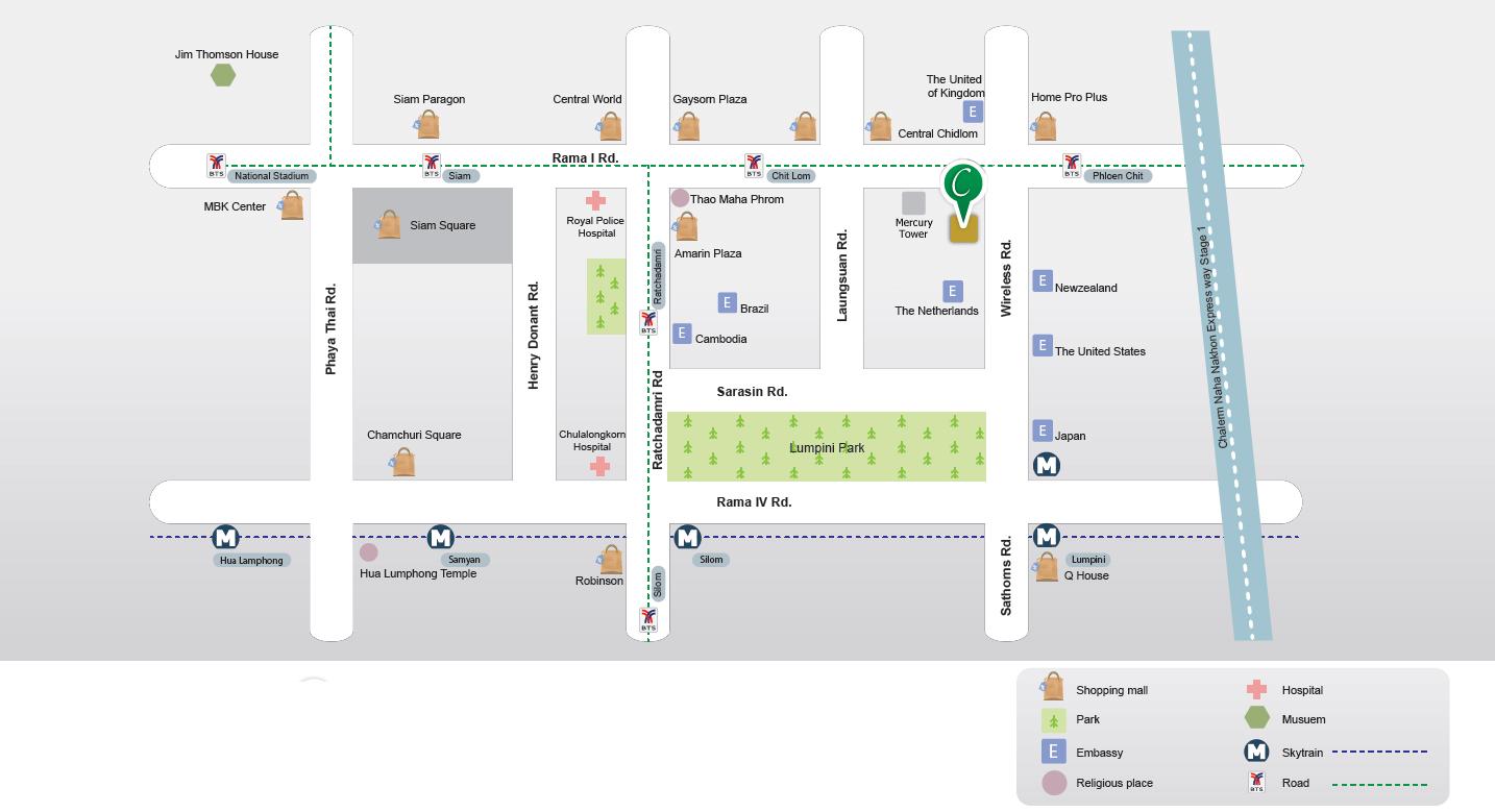 Map Centre Point Wireless Road Bangkok