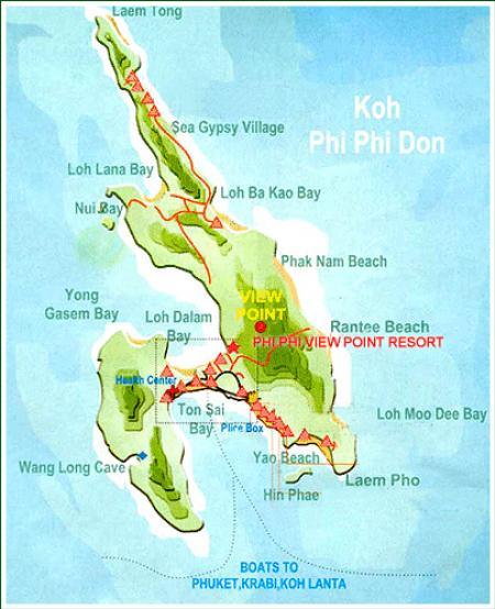 The Phi Phi Beach Resort Map: Map Of Phi Phi Viewpoint Resort