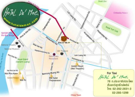 Map Hotel De Moc Affordable Hotel Khaosan Road Bangkok