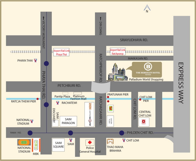 Map Of The Berkeley Hotel Pratunam