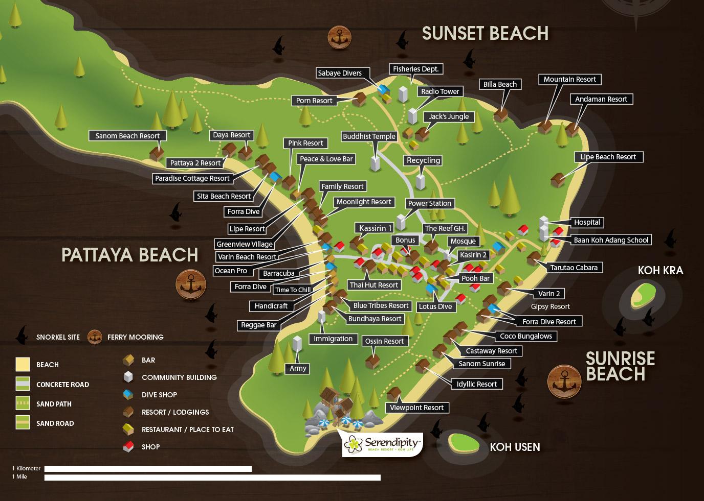 Map Serendipity Beach Koh Lipe Satun