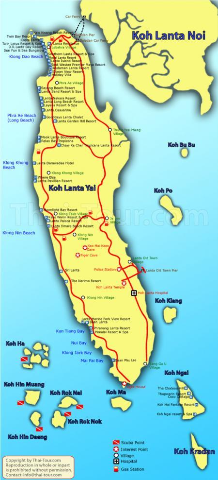 兰达景区平房酒店-兰塔岛-甲米的地图