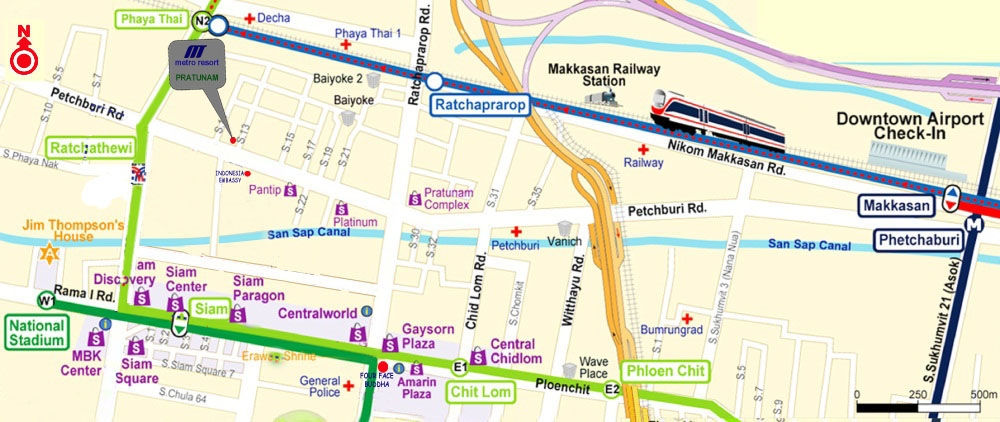 Map Metro Resort Pratunam Bangkok