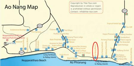 Map of Ao Nang Beach Krabi