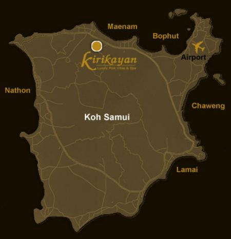 Map Of Kirikayan Luxury Pool Villas Spa Koh Samui Hotels