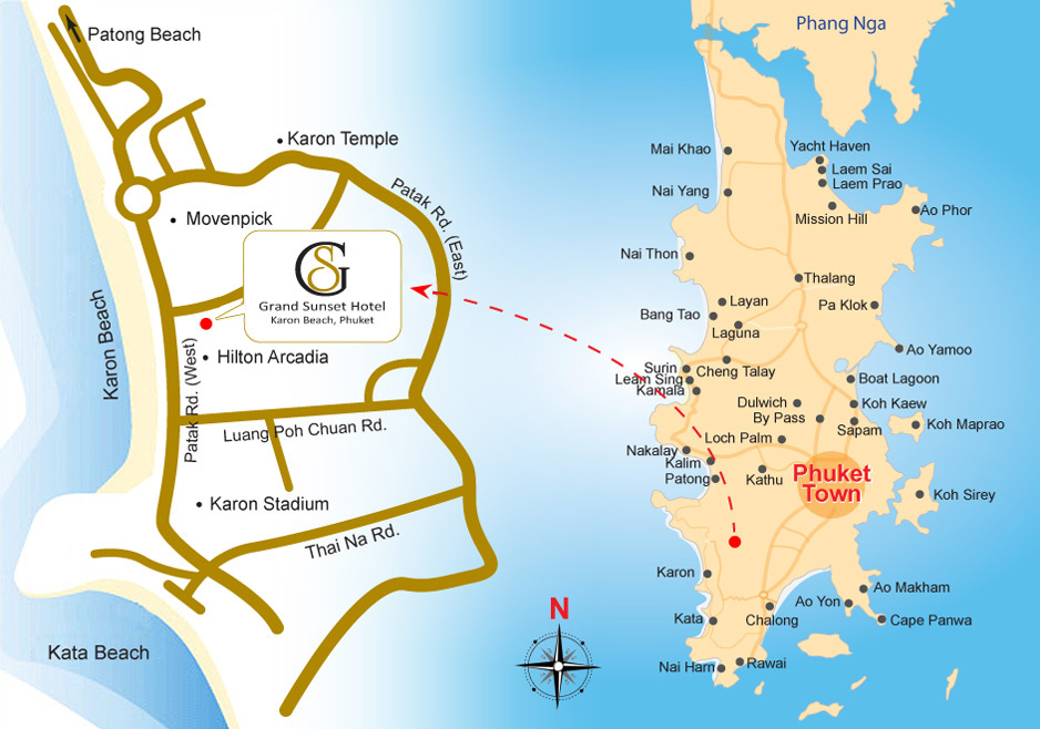 Map Of Grand Sunset Hotel Phuket Thailand Online Reservation