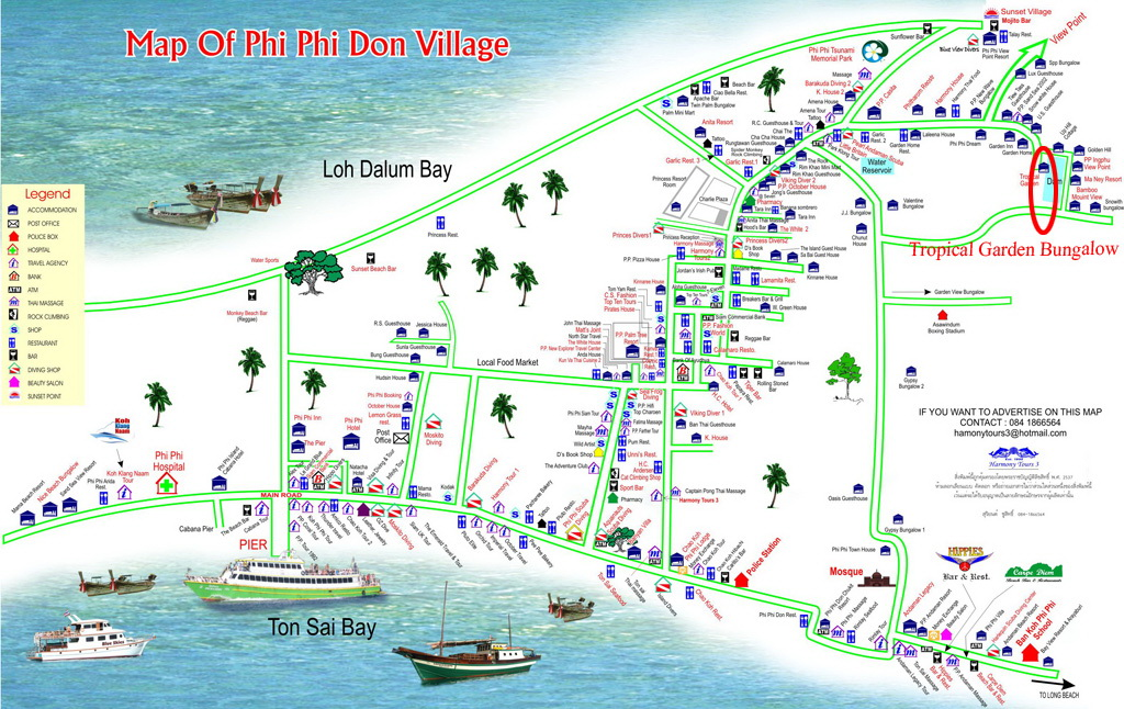 Map Of Tropical Garden Bungalows Aonang Krabi