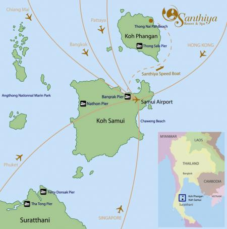 Map Of Santhiya Resort Spa Koh Phangan Hotels Resort Thailand