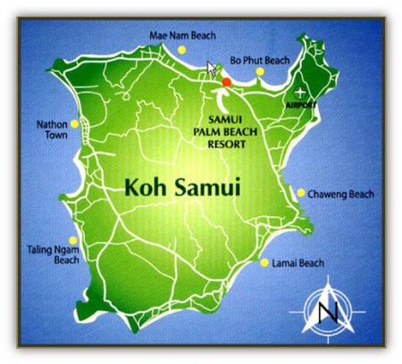 Map Of Samui Palm Beach Resort Koh Samui South of Thailand