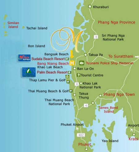 Map of Mukdara Beach Villa Spa Resort Phang Nga