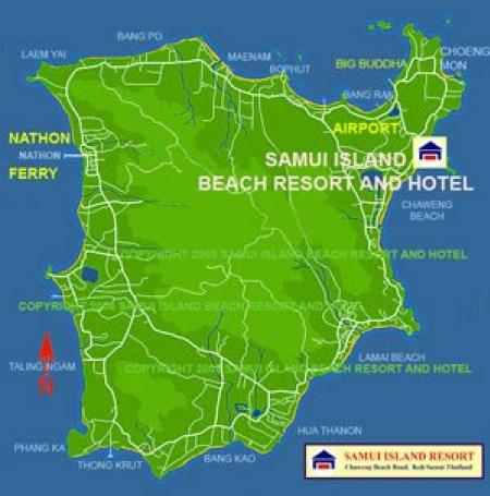 Map of Samui Island Beach Resort And Hotel Koh Samui