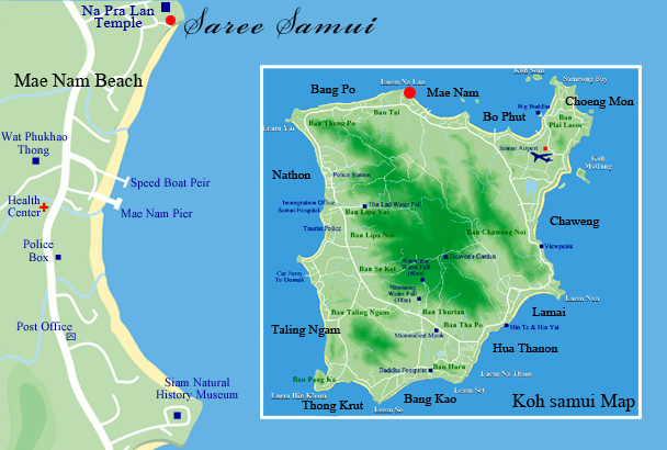 Map Of Saree Samui Koh Samui Suratthani