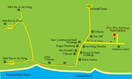 Map of Phu Pha AoNang Resort Spai Krabi
