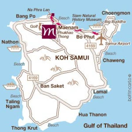Map of Mercure Samui Buri Beach Resort Spa Koh Samui