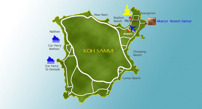 Map of Akaryn Samui Koh Samui Thailand